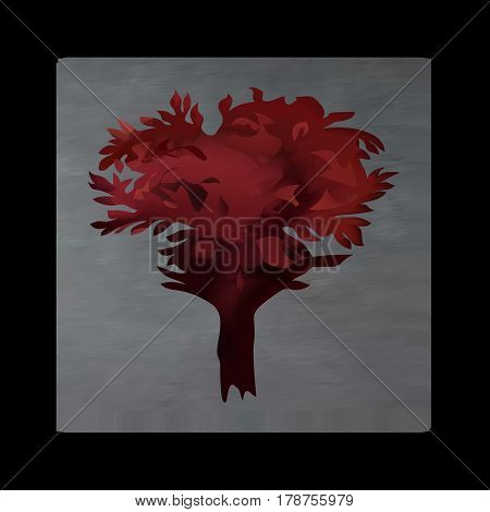 Vintage mystical picture tree in scarlet colors on black background. Burgundy silk drape flowing like blood.