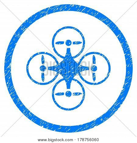 Air Copter grainy textured icon inside circle for overlay watermark stamps. Flat symbol with dust texture. Circled vector blue rubber seal stamp with grunge design.