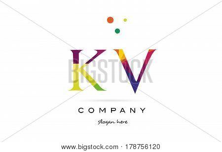 Kv K V  Creative Rainbow Colors Alphabet Letter Logo Icon