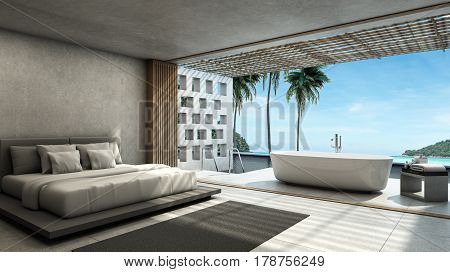 Bedroom Pool villa Outdoor bathroom Way down the pool background take view sea -3D render
