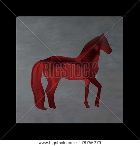 Vintage mystical picture horse in scarlet colors on black background. Burgundy silk drape flowing like blood. Red horse on grey.