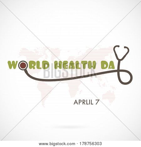 World Health Day Typographical Design Elements. World Health Day lettering icon.World Health Day logotype symbol.Design for greeting CardPosterFlyerCoverBrochureAbstract background.Vector illustration