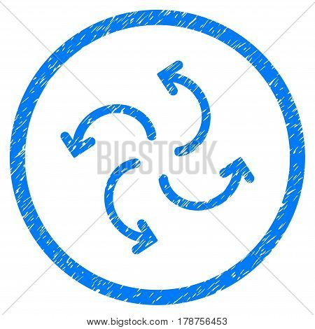 Cyclone Arrows grainy textured icon inside circle for overlay watermark stamps. Flat symbol with unclean texture. Circled vector blue rubber seal stamp with grunge design.