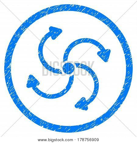 Fan Rotation grainy textured icon inside circle for overlay watermark stamps. Flat symbol with unclean texture. Circled vector blue rubber seal stamp with grunge design.