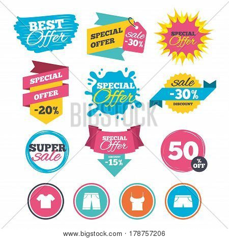 Sale banners, online web shopping. Clothes icons. T-shirt and bermuda shorts signs. Swimming trunks symbol. Website badges. Best offer. Vector
