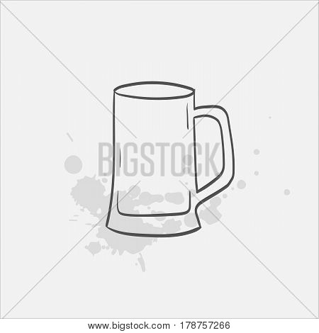 beer stein glass hand drawn icon - vector illustration
