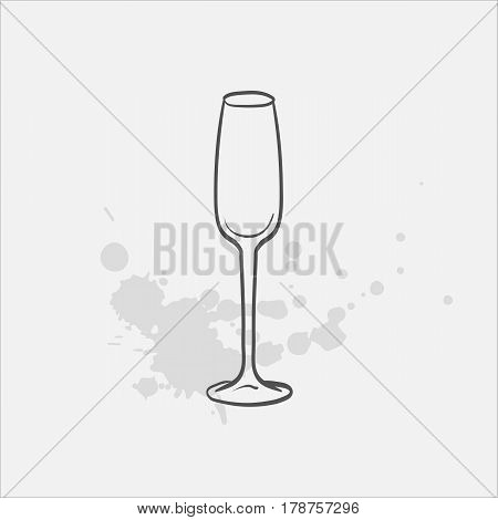 cordial glass hand drawn icon - vector illustration
