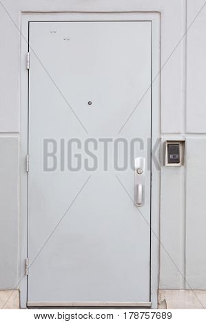 Door With Handle, Lock And Viewer