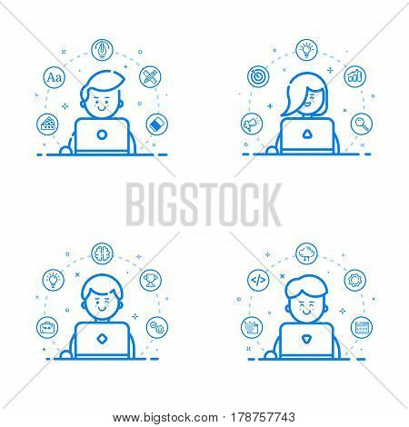 Vector illustration set of blue flat linear and outline style. Graphic design concept - web studio team with designer, web developer, marketer, art director. Cute people with laptop. Freelance work.