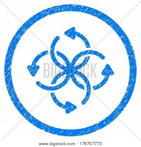 Knot Rotation grainy textured icon inside circle for overlay watermark stamps. Flat symbol with dirty texture. Circled vector blue rubber seal stamp with grunge design.