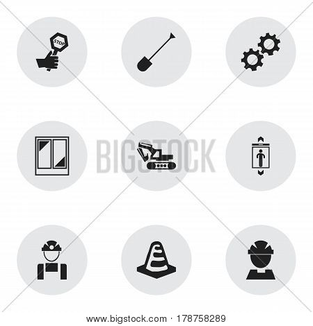 Set Of 9 Editable Construction Icons. Includes Symbols Such As Endurance, Employee, Worker And More. Can Be Used For Web, Mobile, UI And Infographic Design.