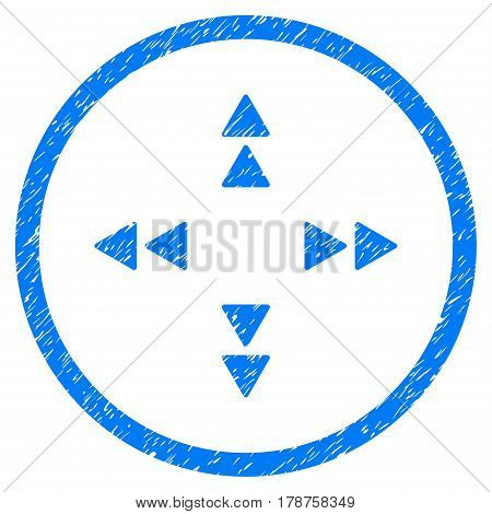 Move Out grainy textured icon inside circle for overlay watermark stamps. Flat symbol with dust texture. Circled vector blue rubber seal stamp with grunge design.