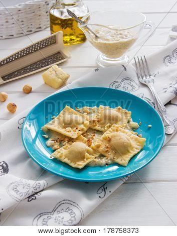 Ravioli Blue Plate Cotton Tablecloth Hazelnut Cheese