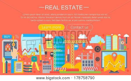 Real estate design concept set with online search apartment rental market buying flat icon infographics template design, web header icons elements. Vector illustration