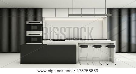 Minimalist white grey tone dining kitchen - 3D render