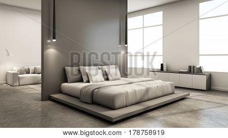 Bedroom interior design minimal loft - 3D render