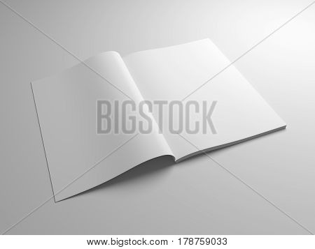 Perspective blank opened magazine or brochure mockup. 3D illustration gray template.