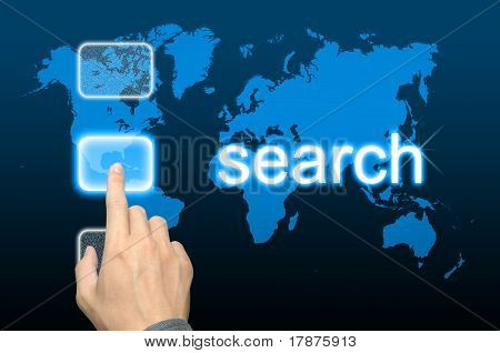 businessman hand pressing search button on a touch screen interface