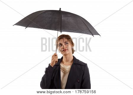 An elegant lady with an umbrella on white background