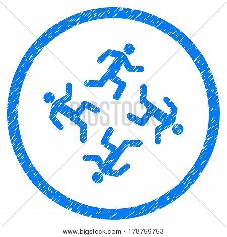 Running Men grainy textured icon inside circle for overlay watermark stamps. Flat symbol with scratched texture. Circled vector blue rubber seal stamp with grunge design.