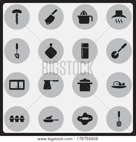 Set Of 16 Editable Meal Icons. Includes Symbols Such As Trowel, Spatula, Dough And More. Can Be Used For Web, Mobile, UI And Infographic Design.