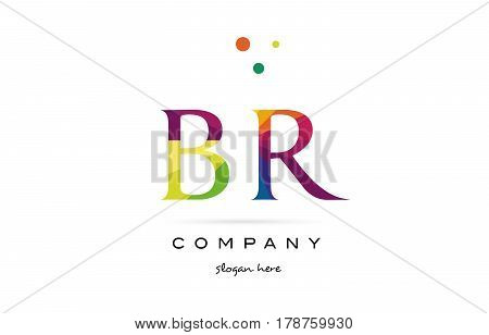 Br B R  Creative Rainbow Colors Alphabet Letter Logo Icon