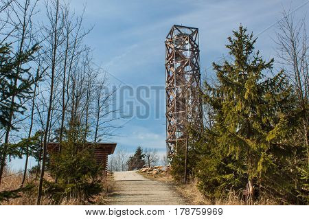 TREBIC CZECH REPUBLIC - MARCH 25 2017: Lookout tower on