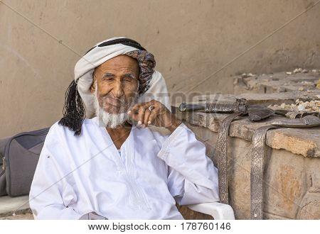 Nizwa Oma 24th March 2017: old Omani man at old Nizwa market