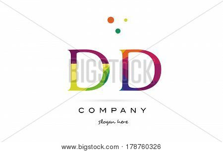 Dd D D  Creative Rainbow Colors Alphabet Letter Logo Icon