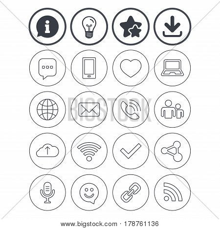 Information, light bulb and download signs. Communication icons. Smartphone, laptop and speech bubble symbols. Wi-fi and Rss. Online love dating, mail and globe thin outline signs. Vector