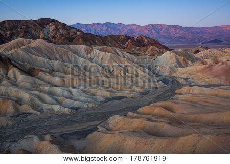 Zabriskie Point At Sunrise, Death Valley National Park, California, Usa