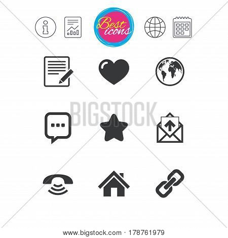 Information, report and calendar signs. Mail, contact icons. Favorite, like and internet signs. E-mail, chat message and phone call symbols. Classic simple flat web icons. Vector