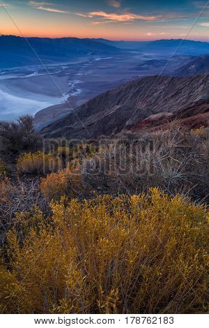 Badwater Basin Seen From Dante's View, Death Valley, California, Usa.
