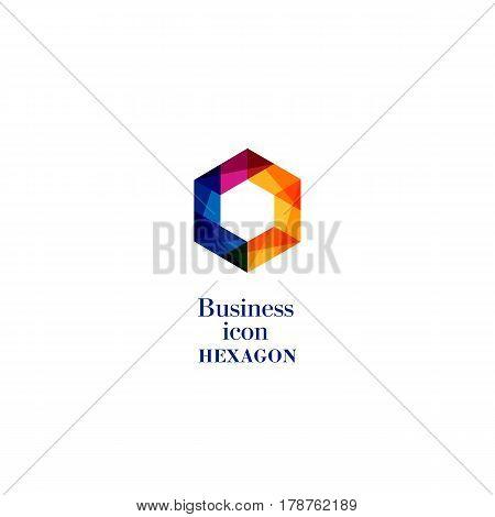 Business Icon Hexagon, Flat Polygonal Hexagon, Geometric Design Concept