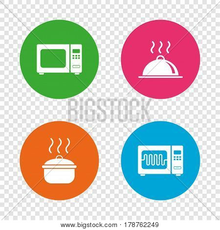 Microwave grill oven icons. Cooking pan signs. Food platter serving symbol. Round buttons on transparent background. Vector
