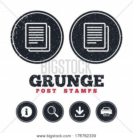 Grunge post stamps. Copy file sign icon. Duplicate document symbol. Information, download and printer signs. Aged texture web buttons. Vector