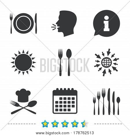 Plate dish with forks and knifes icons. Chief hat sign. Crosswise cutlery symbol. Dessert fork. Information, go to web and calendar icons. Sun and loud speak symbol. Vector