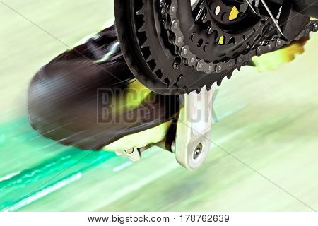 Detail Of Front Derailleur With Cycle Track