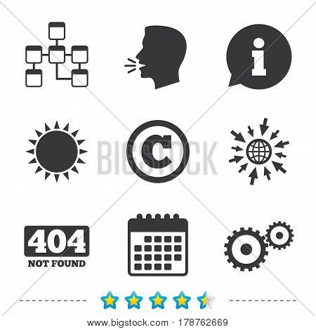 Website database icon. Copyrights and gear signs. 404 page not found symbol. Under construction. Information, go to web and calendar icons. Sun and loud speak symbol. Vector