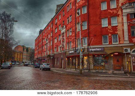 KALININGRAD, RUSSIA - MAR 19, 2017: Epronovskaya street in the evening. The Restaurant