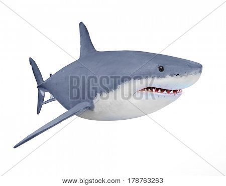The Great White Shark - Carcharodon carcharias is a world's largest known extant predatory fish. Animals 3D illustration on white background.