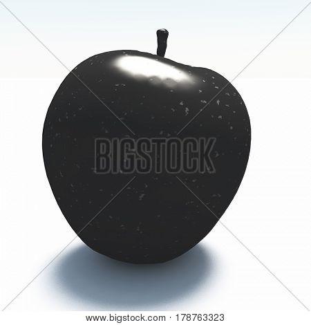 3d render. Apple made of black marble.     3D Rendering