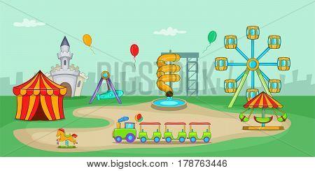 Amusement park horizontal banner concept. Cartoon illustration of amusement park vector horizontal banner for web