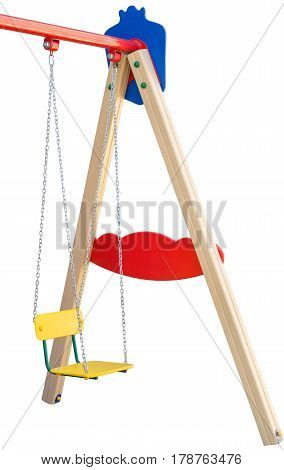 the chain swings hanging on white background