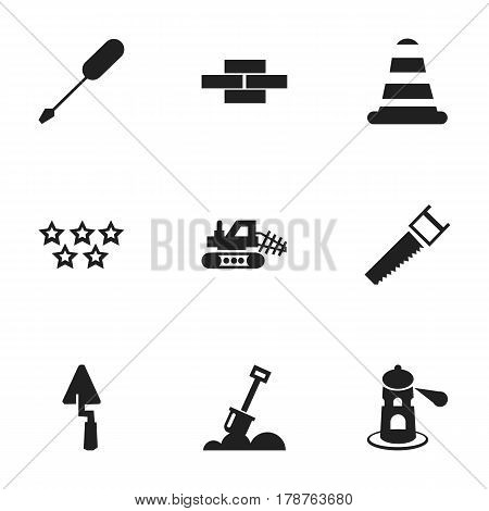 Set Of 9 Editable Building Icons. Includes Symbols Such As Stone, Seamark, Five Starlet And More. Can Be Used For Web, Mobile, UI And Infographic Design.