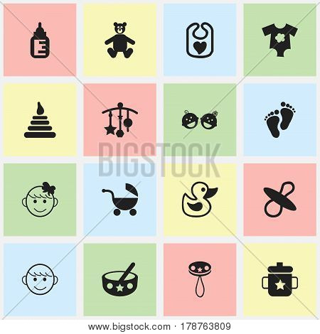 Set Of 16 Editable Child Icons. Includes Symbols Such As Cheerful Child, Rattle, Bath Toys And More. Can Be Used For Web, Mobile, UI And Infographic Design.