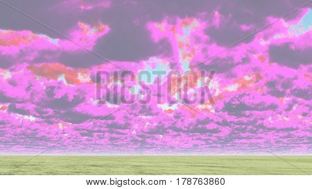 Colorful clouds above horizon.     3D Rendering