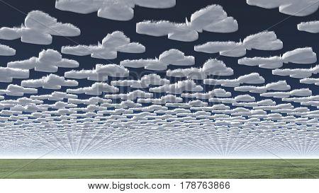 Surreal clouds.     3D Rendering