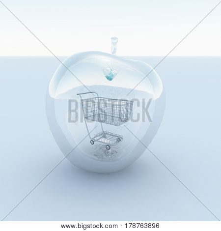 3d render. Apple made of glass with cart inside.     3D Rendering