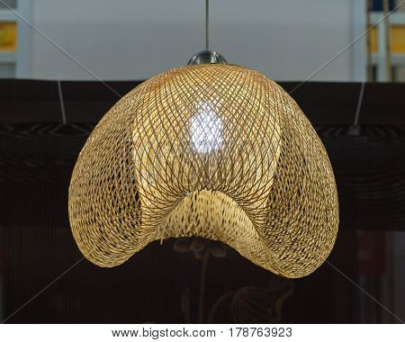 Rattan lamp hang in ceiling